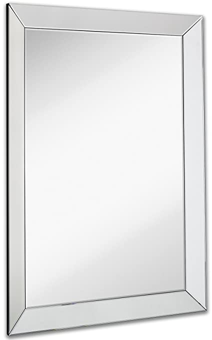 Large Framed Wall Mirror With 3 Inch Angled Beveled Mirror Frame | Premium  Silver Backed Glass