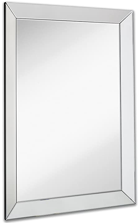 large framed wall mirror with 3 inch angled beveled mirror frame premium silver backed glass - Mirror Frame