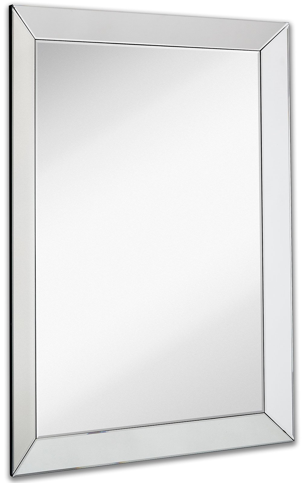 Large Framed Wall Mirror with 3 Inch Angled Beveled Mirror Frame | Premium Silver Backed Glass Panel Vanity, Bedroom, or Bathroom | Mirrored Rectangle Hangs Horizontal or Vertical (30'' x 40'')