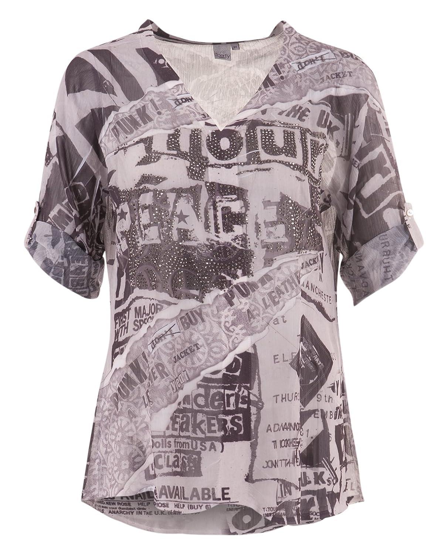 Leicht transparente Bluse mit Strass-Details, kiesel