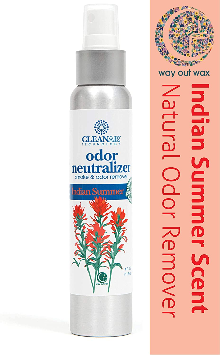 Way Out Wax Odor Neutralizing Spray, Clean Air Indian Summer Scent Odor Remover (4 oz Spray Bottle); All-Natural Air Freshener and Deodorizer
