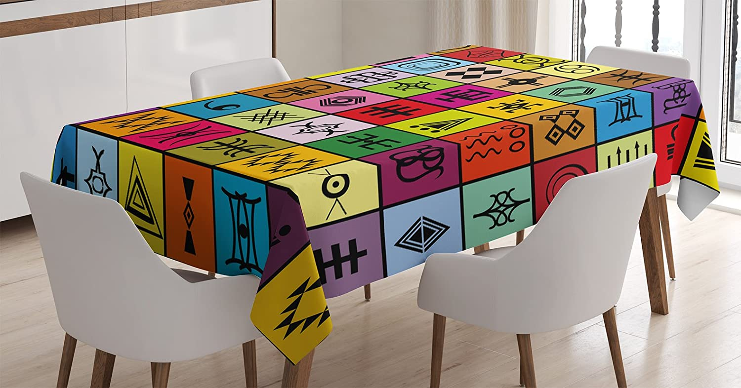 "Ambesonne Prehistoric Tablecloth, Elements Collage in Colorful Squares Aboriginal Symbolic, Rectangular Table Cover for Dining Room Kitchen Decor, 60"" X 90"", Red Orange"