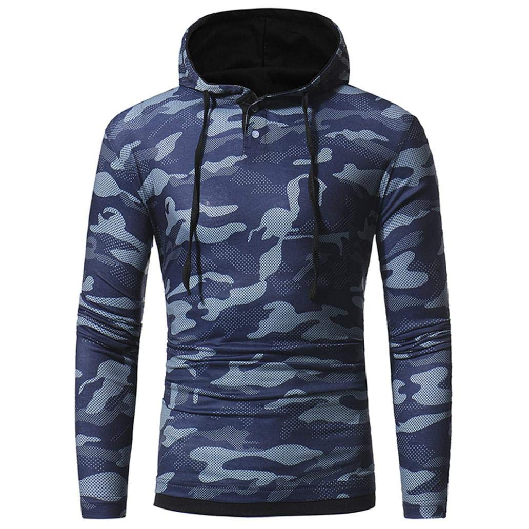 kaifongfu Long Sleeved Hooded Sweater Jacket with Camouflage Men Slim Fit Top Blouse for Autumn Winter BlueL