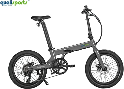 Qualisports Dolphin 20 Folding Electric Bicycle Wide Tire E-Bike Approved UL2849, 350W Hub Motor, 36V 14Ah Battery, Range 50 Miles, 20MPH Max Speed Hybrid Foldable Ebike