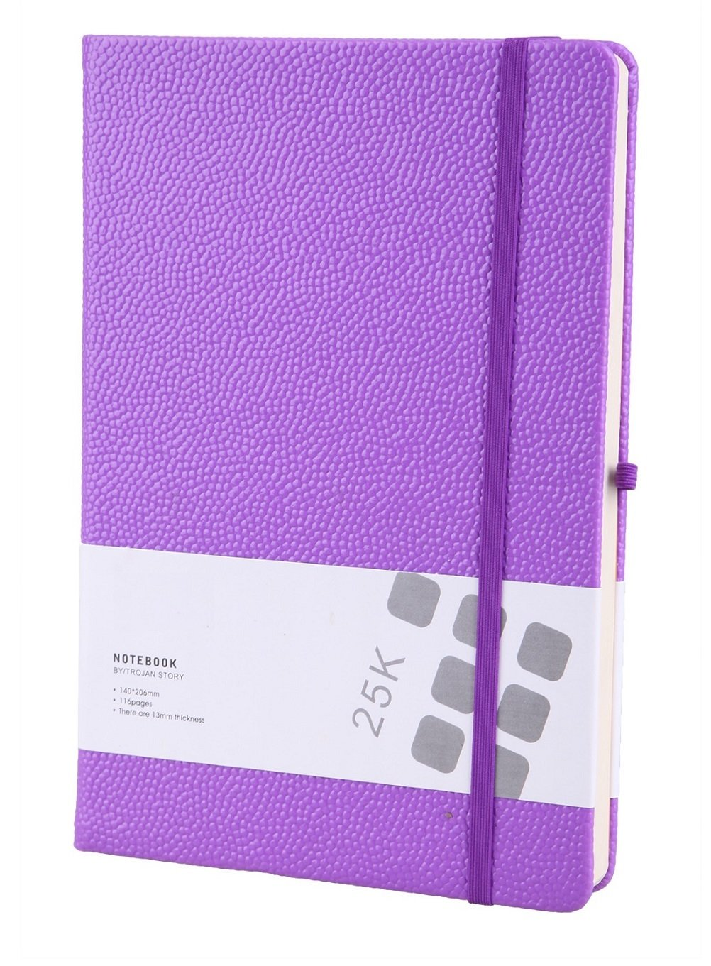 Cute Hardcover Journal Notebook Medium PU Leather Ruled Diary to Write in for Girl Women Men Gift, Elastic Closure, Pen Holder, Page Dividers, 5.6 x 8.3 Inch Back to School Supplies (Purple)