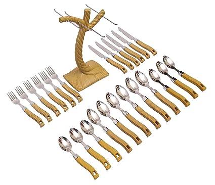Livzing 24pcs Cutlery Set Spoon Fork Knife Wooden Design Plastic