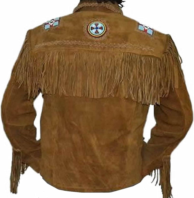 Mens Traditional Cowboy Western Leather Jacket Coat with Fringe