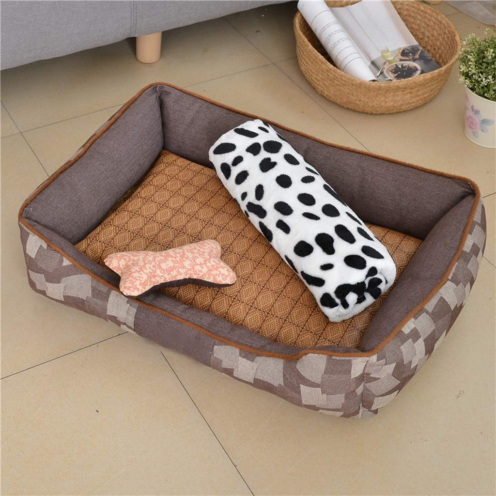D MFERZA petsuppliesmisc Winter Warm Round Dog Bed Soft Kitten Puppy Pets Mat For Small Dogs (color   A, Size   L)