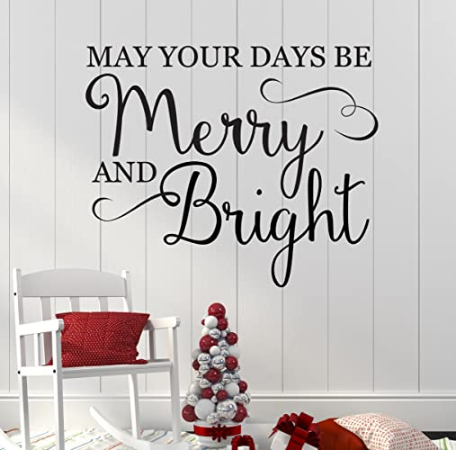 christmas wall decal may your days be marry and bright holiday vinyl decor for - Christmas Wall Decal