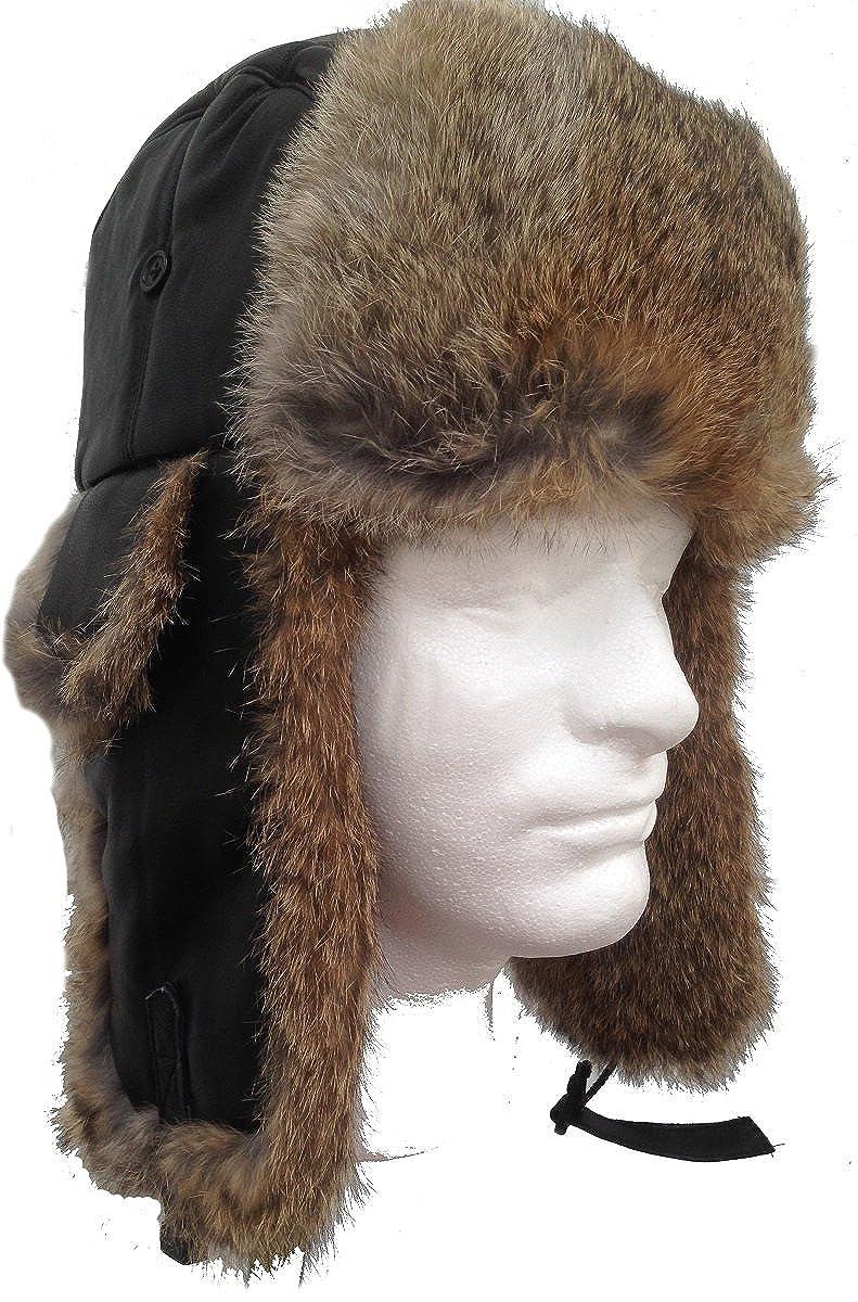 fb706268e Genuine Black Sheepskin and Tan Rabbit Fur Trooper Trapper Aviator Hat