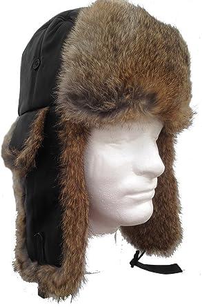 4b849cfc38a Genuine Black Sheepskin   Tan Rabbit Fur Trooper Trapper Aviator Hat Medium