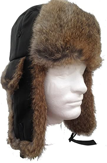 4b849cfc38a Genuine Black Sheepskin   Tan Rabbit Fur Trooper Trapper Aviator Hat Medium