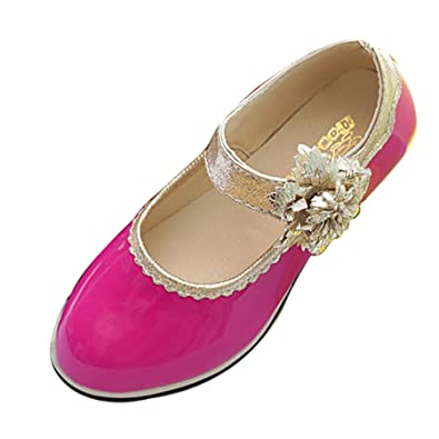 5f3fc157648a Little Kids Girls Patent Low Heel Sparkly Party Shoes Flower Mary ...