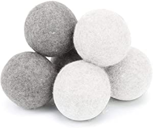 Wool Dryer Balls 6 Pack XL-100% Natural New Zealand Wool to Core,Premium Reusable Natural Fabric Softener,Reduce Wrinkles,Saves Drying Time.7cm Dryer Balls Better Alternative Softener (3gray+3white)