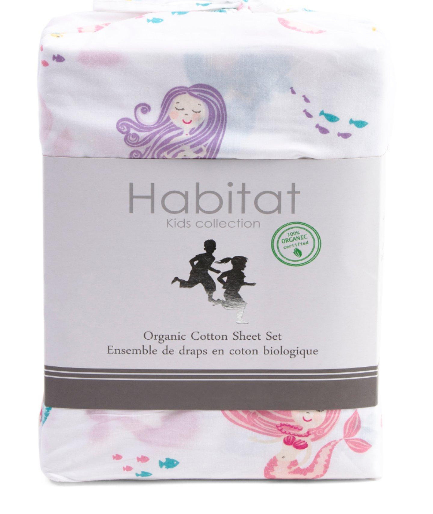 Habitat Kids Mermaid Full Double Sheet Set 4 piece set Cotton Fish Ocean Turtles Girls Sheets Bedding Pink Purple White