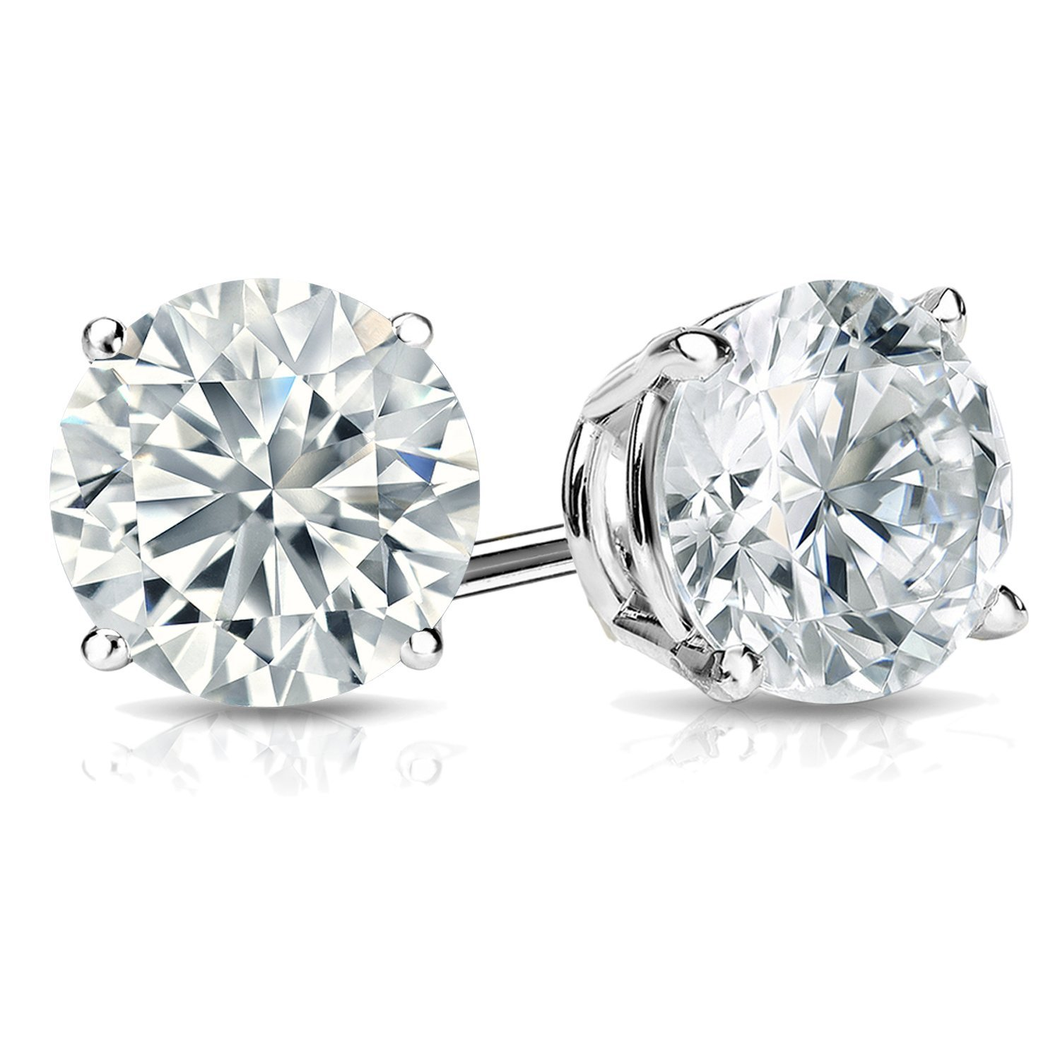 2ct Solitaire Diamond Stud Earrings 14k White Gold Screw Back (G Color SI1-SI2 Clarity)