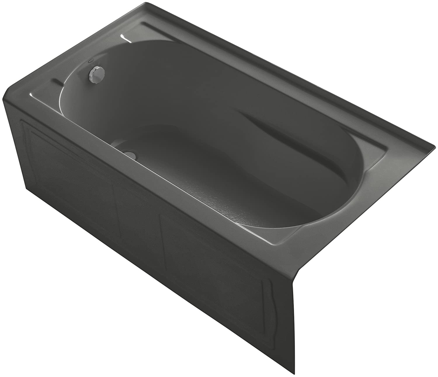 x 32 In Tile Flange Black Alcove Bath with Bask Heated Surface KOHLER K-1184-LAW-7 Devonshire 60 In and Left-Hand Drain Integral Apron