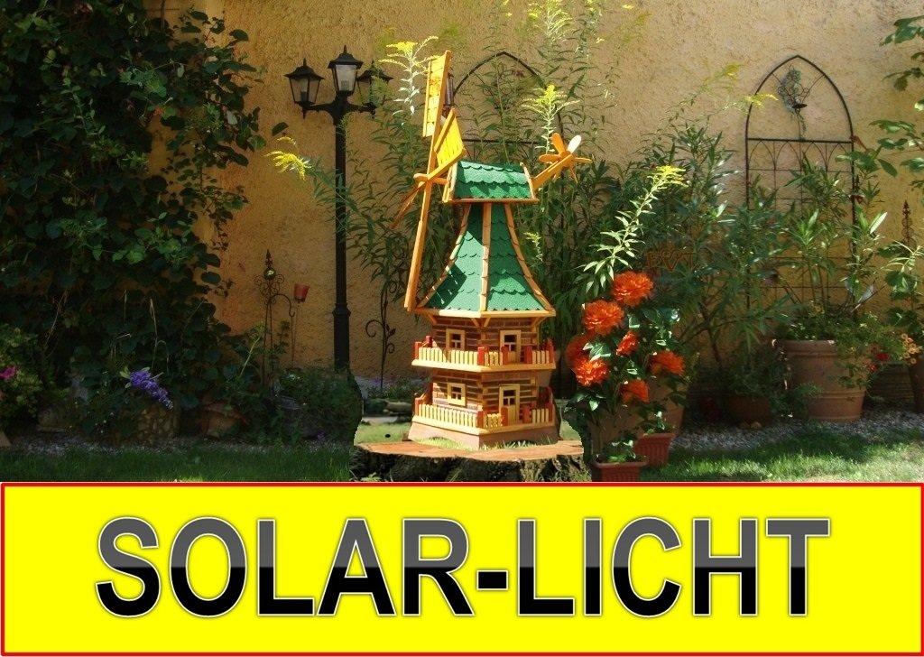 Solar-Windmühle Holz massiv, wetterfest,robust mit Bitumen, MIT WINDFAHNE Windrad-Seitenruder, Windmühlen Garten, imprägniert + kugelgelagert 1,40 m groß DOPPELSTÖCKIG 2-stöckig grün grüngrau moosgrün, mit SOLARBELEUCHTUNG