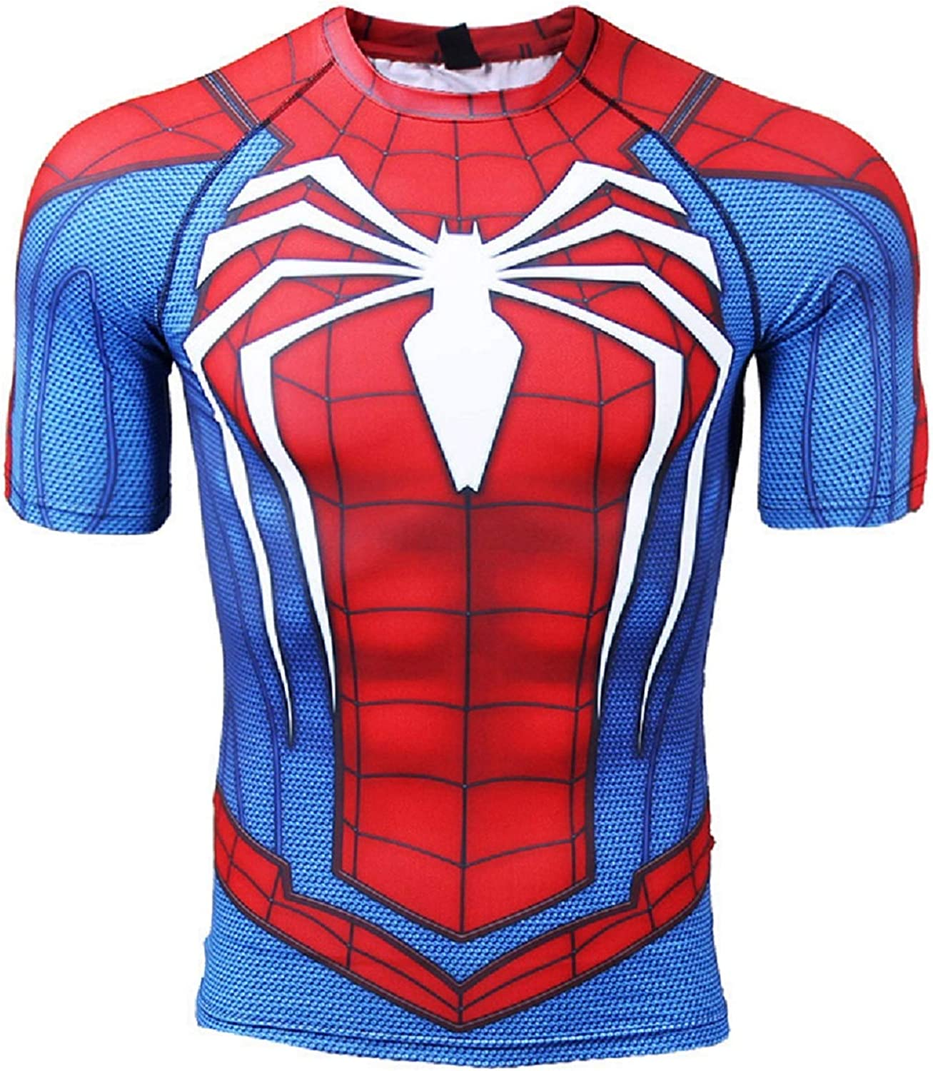 Short Sleeve Spider-Man Compression Shirts for Men 3D Printed Tee