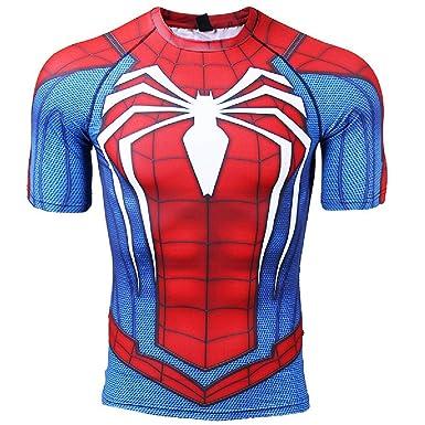 07705e91 COOLMAX Infinity War - Part 3 Short Sleeve Men Spiderman Compression Shirt  (Small, Blue