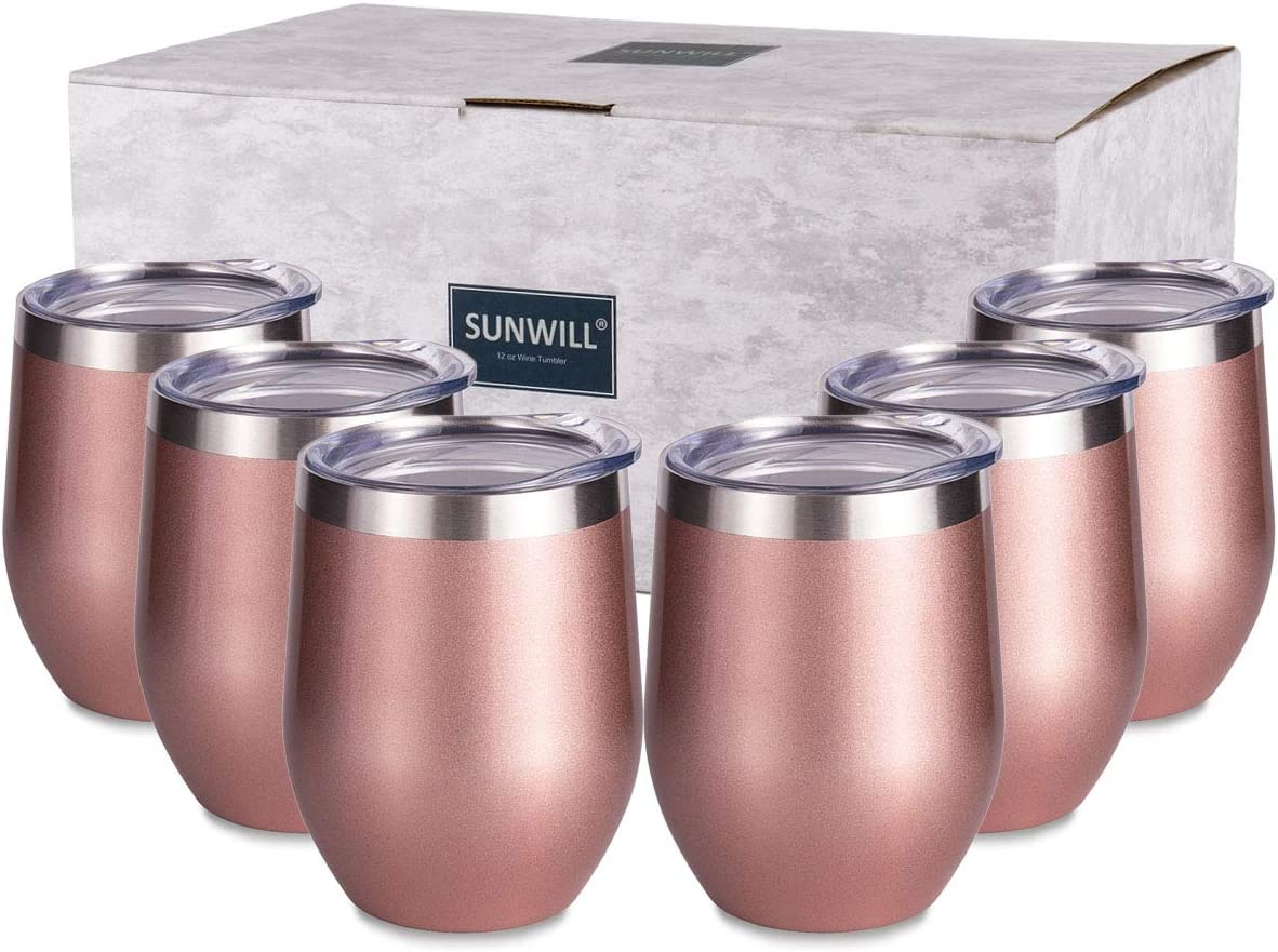 SUNWILL Insulated Wine Tumbler with Lid Rose Gold 6 pack, Double Wall Stainless Steel Stemless Insulated Wine Glass 12oz, Durable Insulated Coffee Mug, for Champaign, Cocktail, Beer, Office
