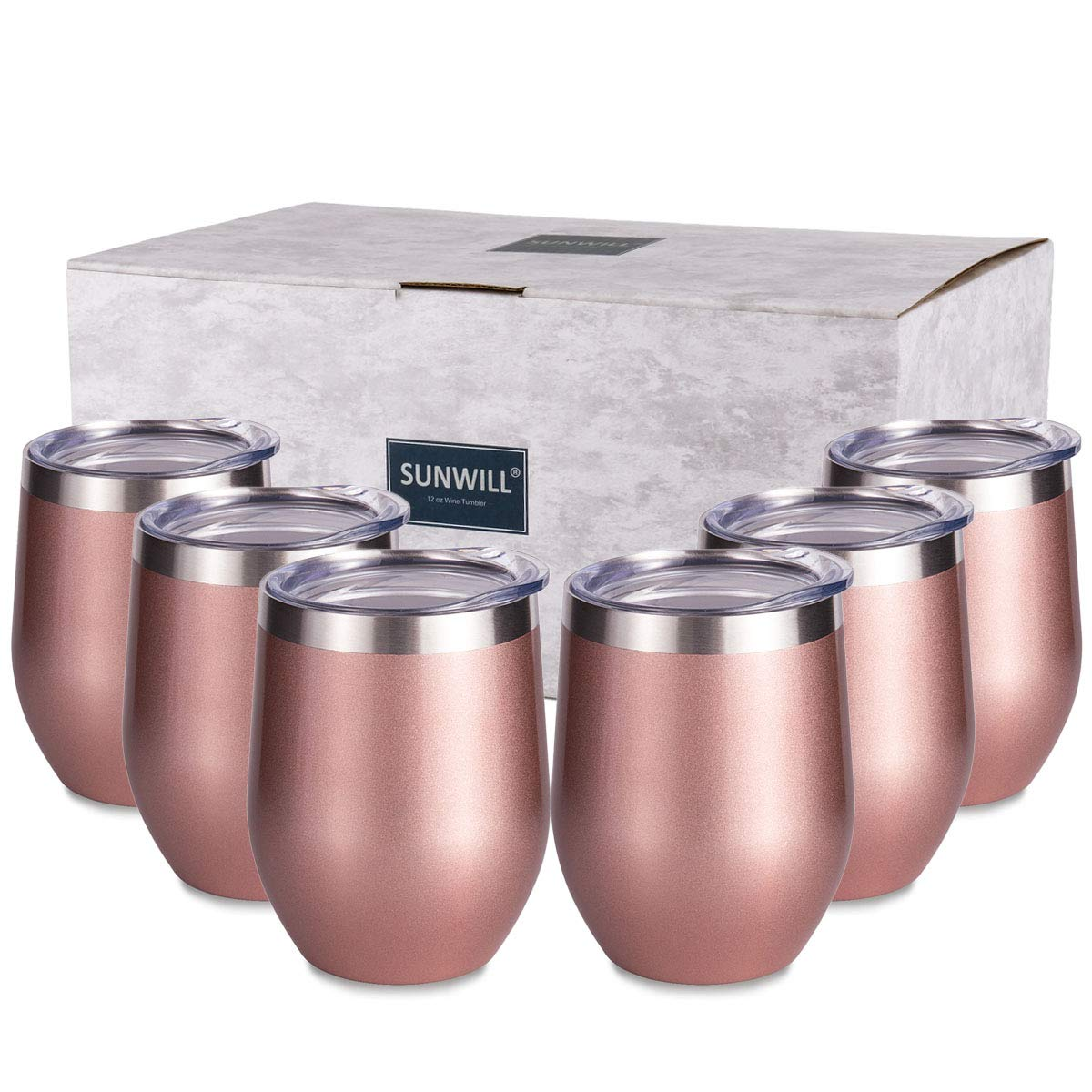 SUNWILL Insulated Wine Tumbler with Lid Rose Gold 6 pack, Double Wall Stainless Steel Stemless Insulated Wine Glass 12oz, Durable Insulated Coffee Mug, for Champaign, Cocktail, Beer, Office by SUNWILL