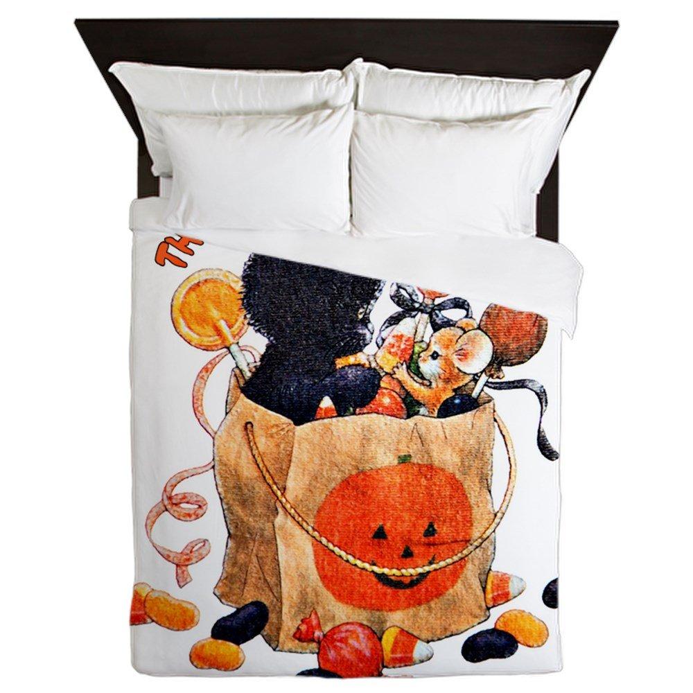 Queen Duvet Cover Halloween Kitten Candy Pumpkin