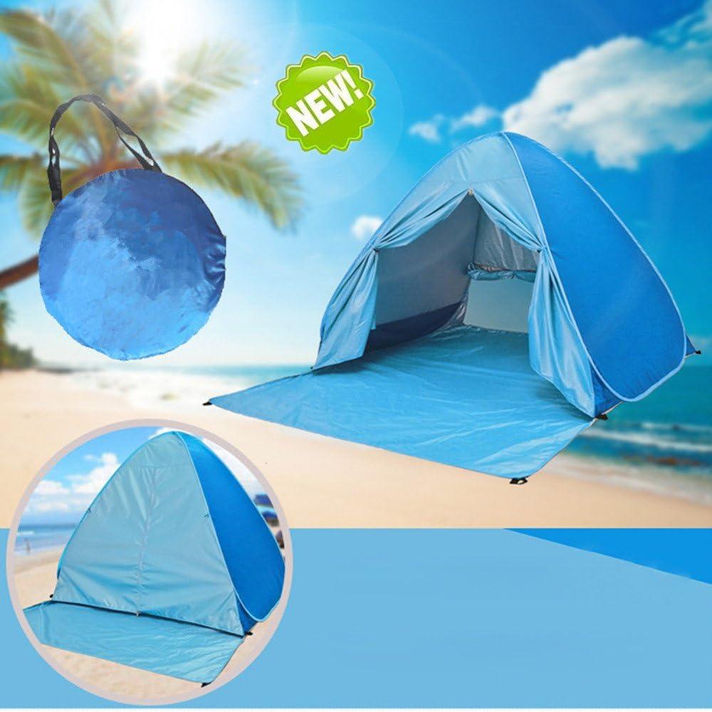 BACKTURE Pop Up Campingzelt,Strandzelt UPF 50 UV Wasserdicht Schutz 2-3 Personen Strandmuschel Familien Sonnenschutz Strandzelt Selbstaufbauend Automatisch Schutzzelt Sonnenschirm Haus am Strand
