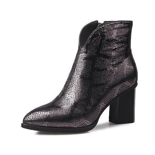 QIN&X Señaló la mujer Tacones Bloque Toe Botines cortos zapatos con plataforma: Amazon.es: Zapatos y complementos