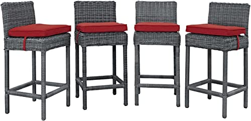 Modway Summon Wicker Rattan Outdoor Patio Sunbrella Four Bar Stool in Canvas Red