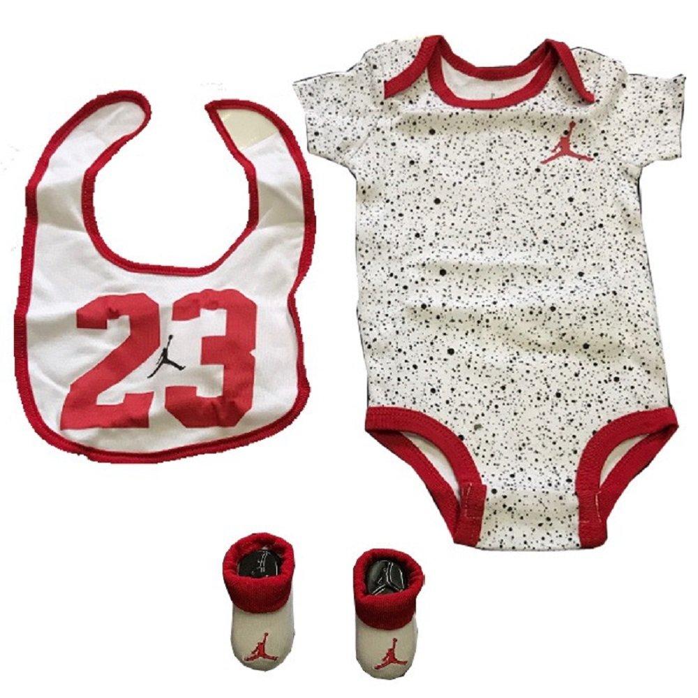 6792704c3 Nike Jordan 0-6 Months 3 Piece Set White Blacj Red Baby Boy - Girl:  Amazon.co.uk: Clothing
