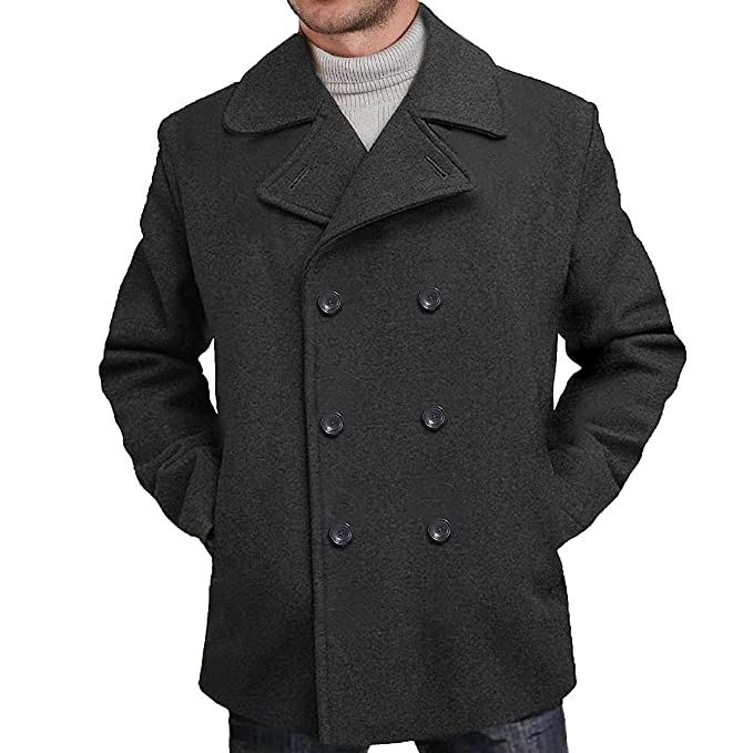 BGSD Men's 'Mark' Classic Wool Blend Pea Coat at Amazon Men's