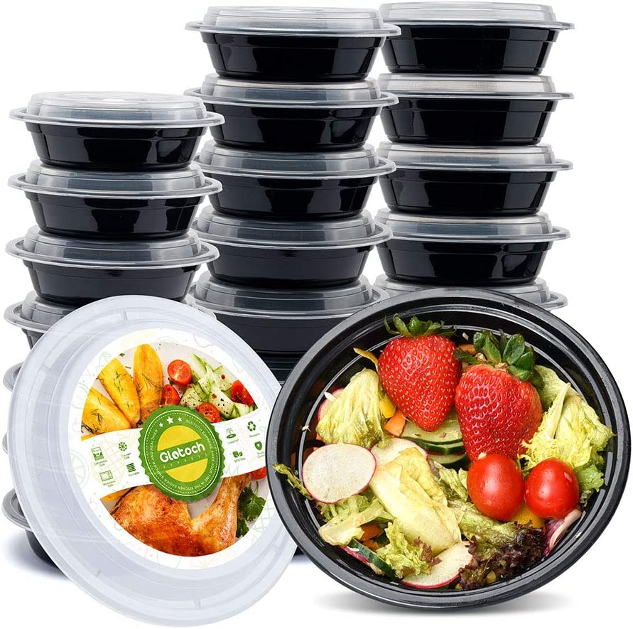 Glotoch 16ounce Meal Prep Containers, 1 Compartment Food Storage Containers for Meal Prep-Microwave, Freezer & Dishwasher Safe - Eco Friendly Safe Food Container, Pack of 10 Round