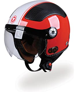 TORC T58B Carbon Jet Helmet with Blinc 2.0 Stereo Bluetooth Technology (Red, Small)