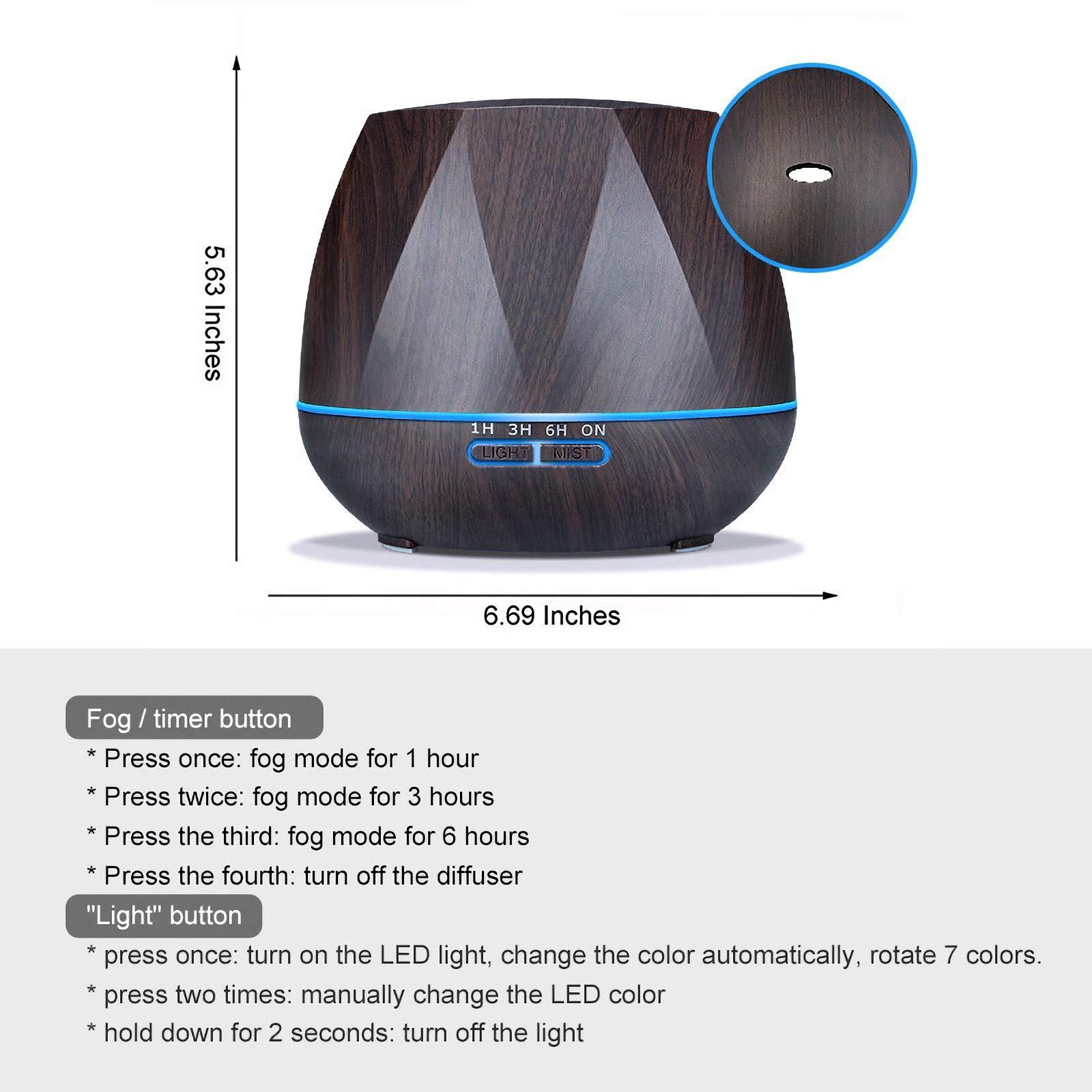 Ayrio Essential Oil Diffusers, 550ml Ultrasonic Aromatherapy Diffuser Air Humidifier and 7 Colourful LED Lights Purifier for Home, Bedroom, Office, Yoga, Spa (UK Plug)