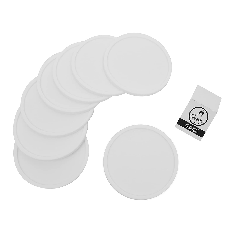 Coastee Silikon Untersetzer   8 Stück, Weiß, Glasuntersetzer Set Für Bar,