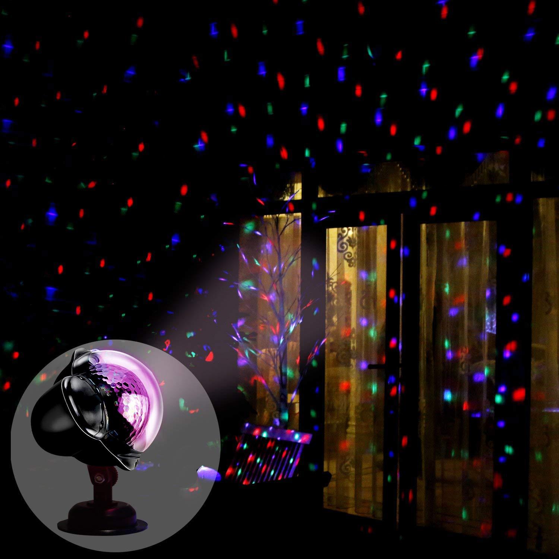 D/écoration pour F/ête Hallo Lumi/ère Projecteur No/ël,Wakana Projecteur Lumi/ère Vague d/'Eau /& Motif Rotatif Double Projection /Éclairage /Étanche Ext/érieur avec 12 Motifs et T/él/écommande