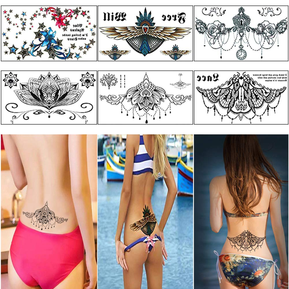 Sexy Chest Lower Back Tattoos,Temporary Tattoo Paper for Women,Waterproof Fake Tatoo Stickers (6 Sheets)