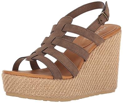 Volcom Women's High Society Wedge Sandal, Brown, ...