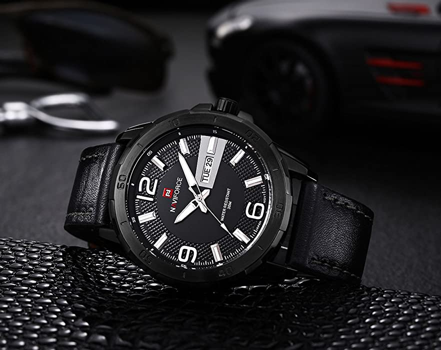 Naviforce reloj deporte hombres de cuero impermeable fecha semana hombres Casual militar analógico relojes
