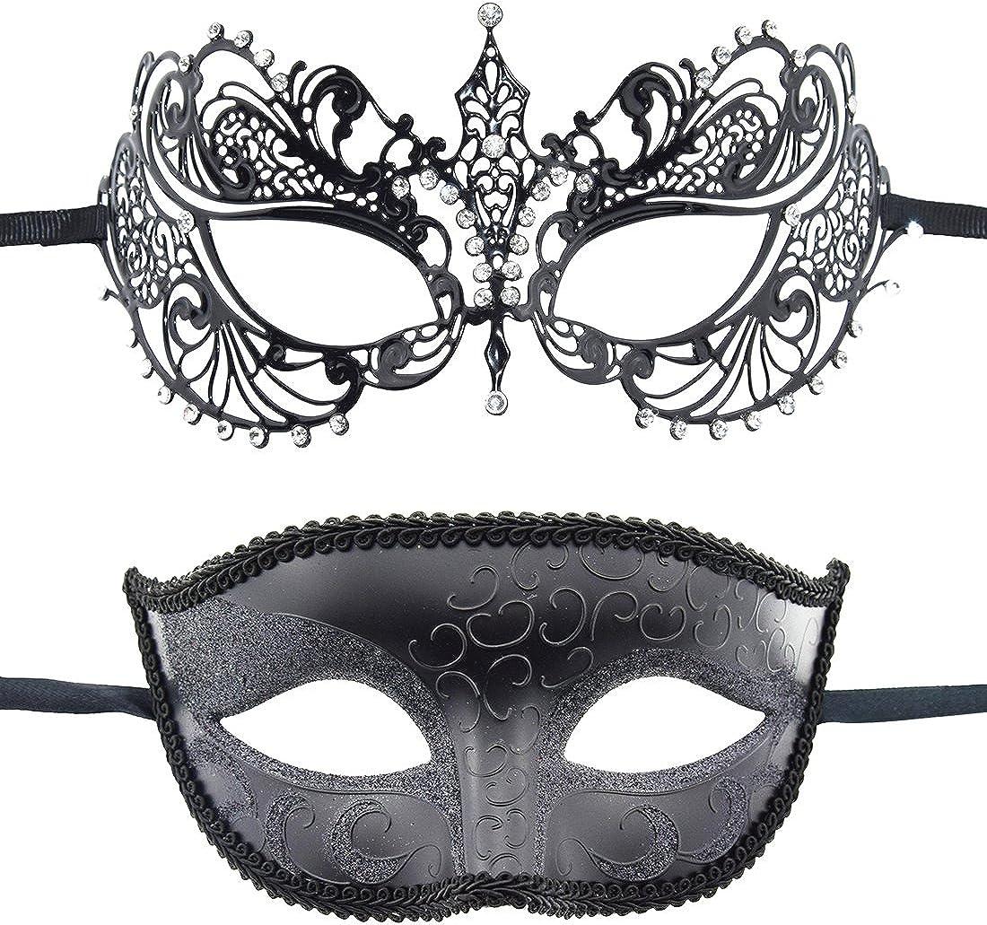 2 Pack Couple's Venetian Masks Set Masquerade Ball Mask Carnival Mardi Gras Prom Mask 71NvVTnrMEL