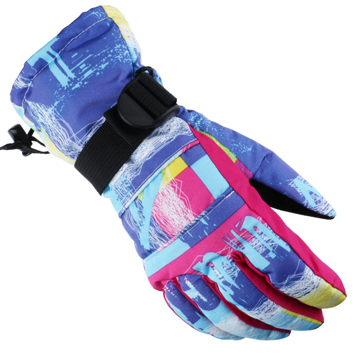 SF.Z Ski Gloves, Snowboard Cycling Snowmobile Biking Athletic Gloves, Waterproof Windproof Snow Proof Warm Breathable Fashion Comfortable Flexible Gloves for Women(Pink and Blue Graffiti/Small)