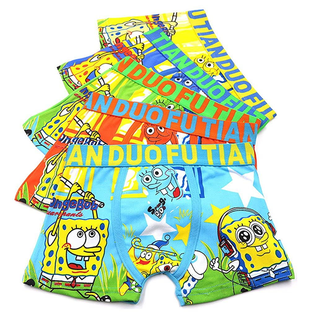 2-8 Years Old Boys Character SpongeBob Boxer Briefs Vibrant Colors Underwear 5 Pack YUMILY CAETNK1706131