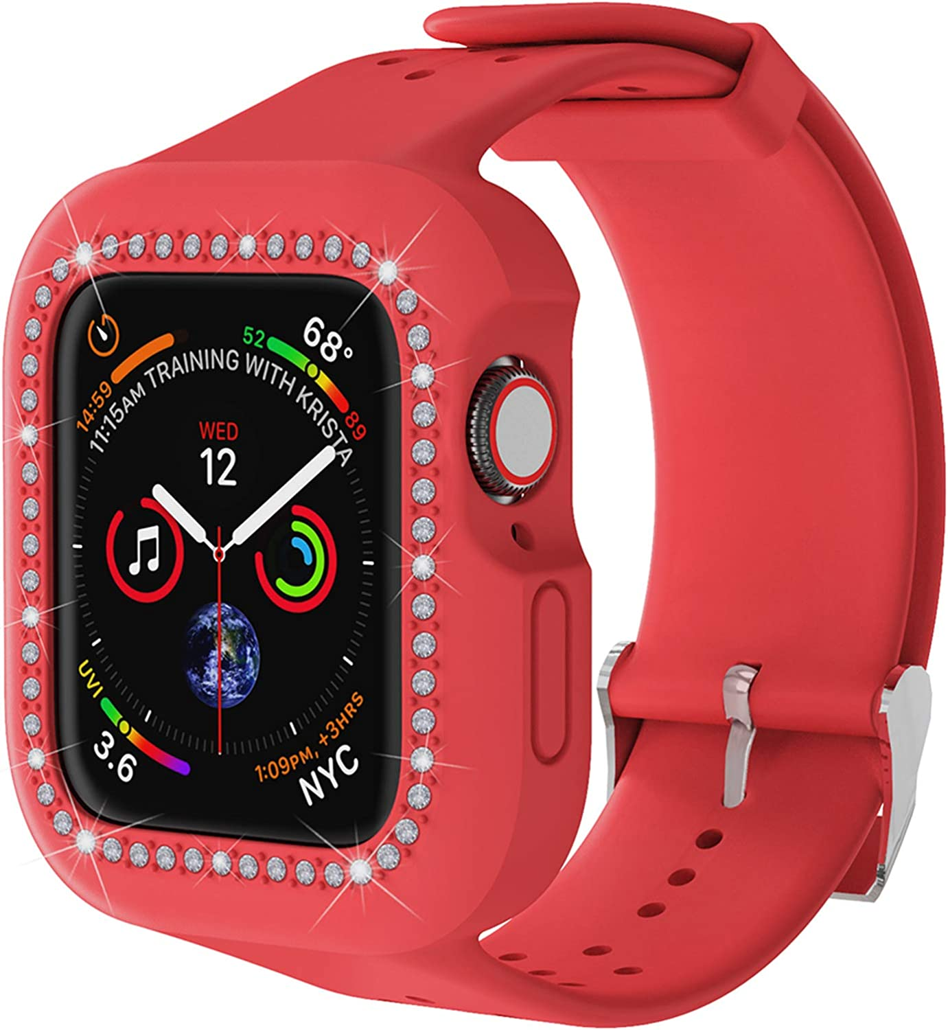 Smart Watch Case with Bands, Iwatch Protect Cover for Women Girl, Compatible Apple Watch, Bling Diamond Rhinestone Silicone Wristband Strap for Apple Watch 38mm 40mm Series 6 se 5 4 3 2 1