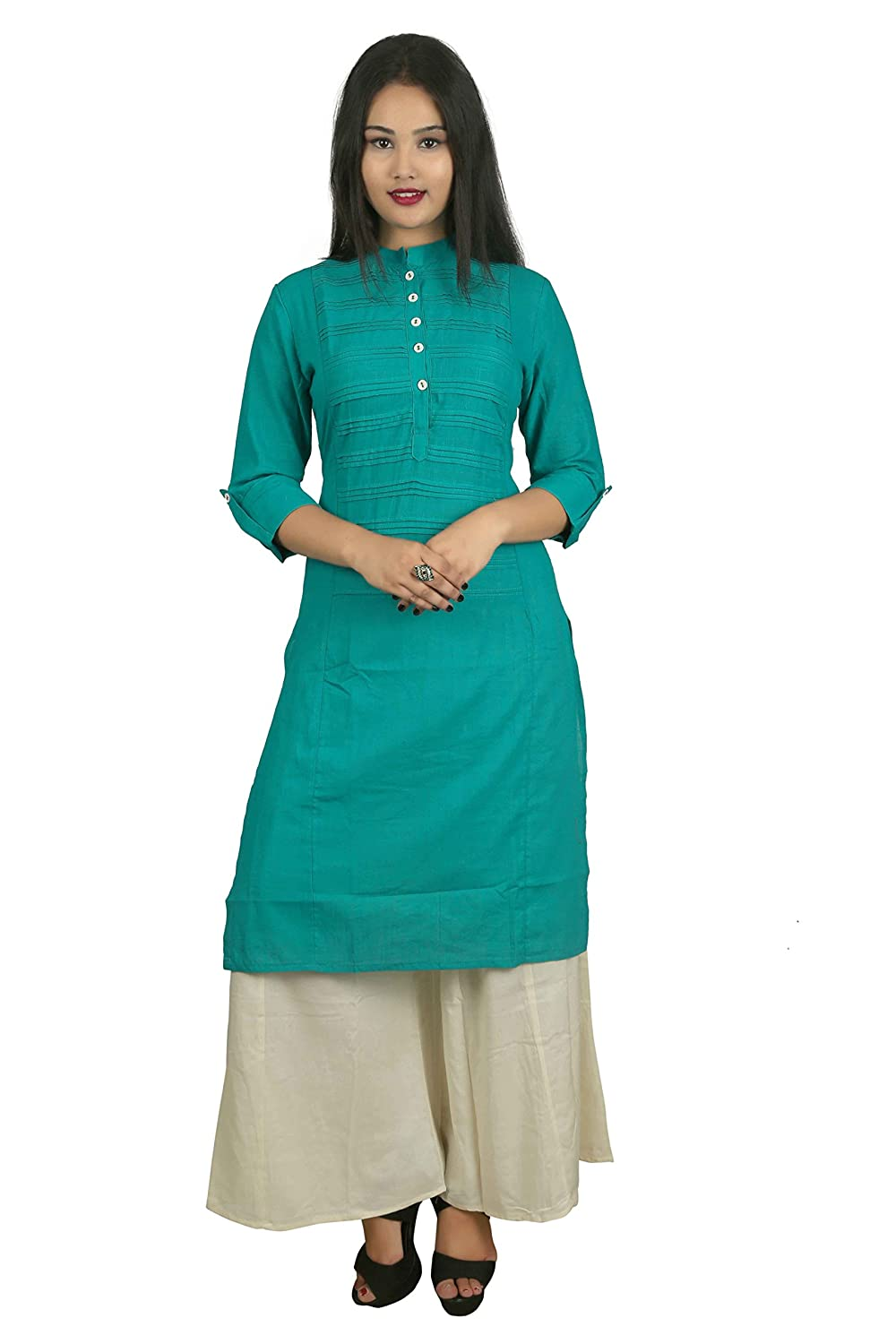Green Solid 3/4 Sleeve Cotton Women's Kurta and Palazzo Set Indian Handicrfats Export D15-Troquise-Beige-L