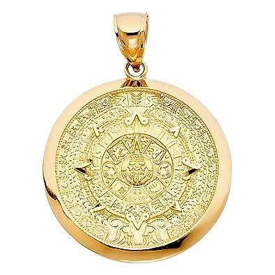 Amazon.com: Ioka - 14K Yellow Gold Calendario Azteca Charm ...