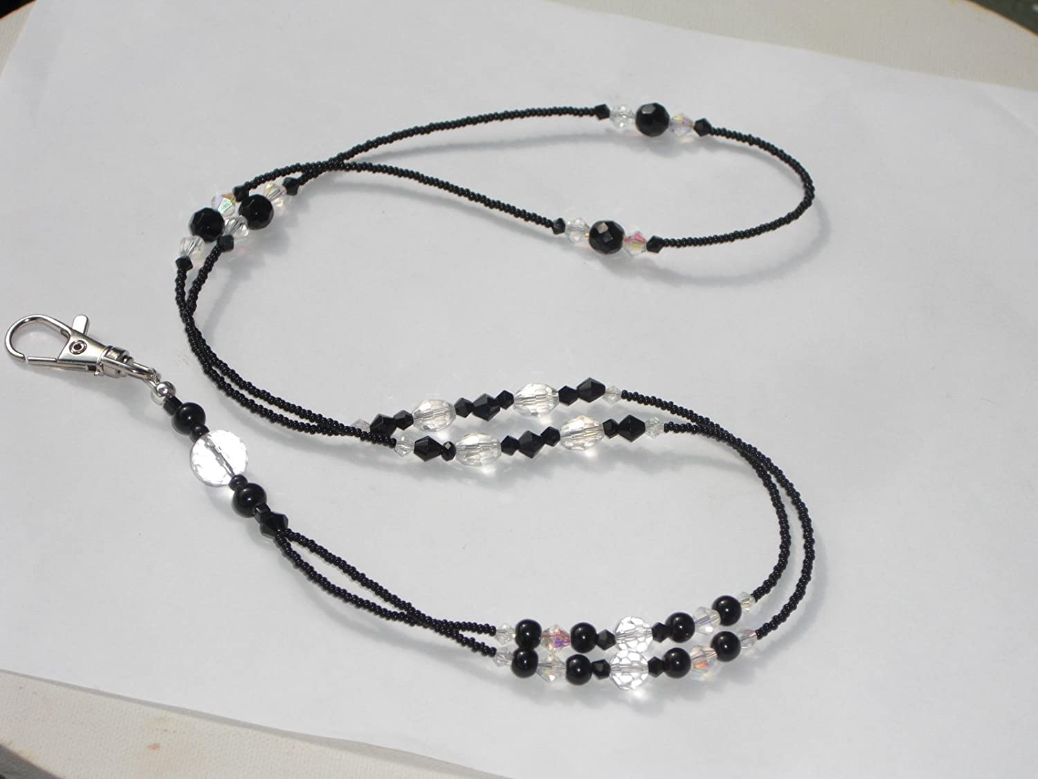 Black Beaded Lanyard ID Badge Holder Key Chain Clip Necklace Choose Length NEW