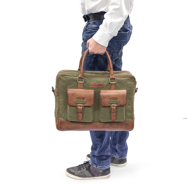 Taschen Herren-accessoires Drakensberg Kimberley Travel Briefcase Grün Umhängetasche Reise Tasche Vintage