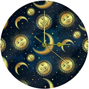 AISSO Round Wall Clock Silent Celestial Sun Moon Star Art Decorative Non-Ticking Quiet Clock for Gift Home Office Kitchen Nursery Decor 25cm (Battery Not Included)