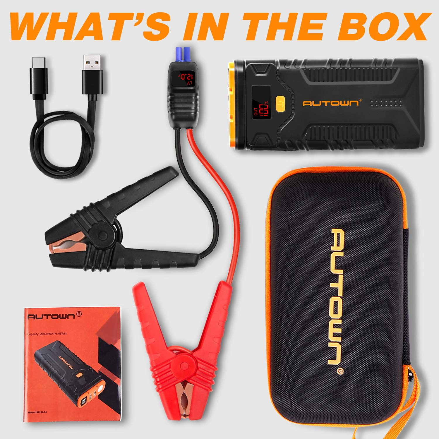 Up to 8.0L Gas//6.5L Diesel Engines QDSP 12V Auto Battery Booster Portable Power Pack with Built-in LED Light Jump Starter with Quick Charge 3.0 AUTOWN 2000A Peak 20800mAh Car Jump Starter